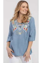 Tribal  Embroidered Bell Sleeve Tunic - Product Mini Image
