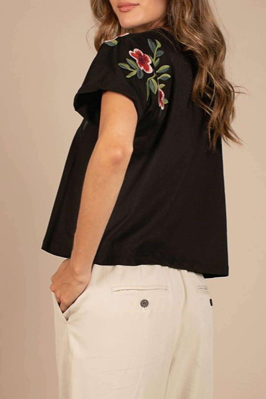 Mod Ref Embroidered Black Crop Top - Front Full Image