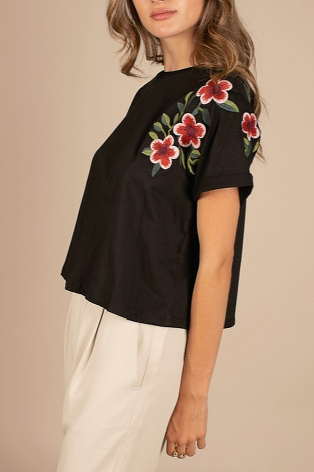 Mod Ref Embroidered Black Crop Top - Main Image