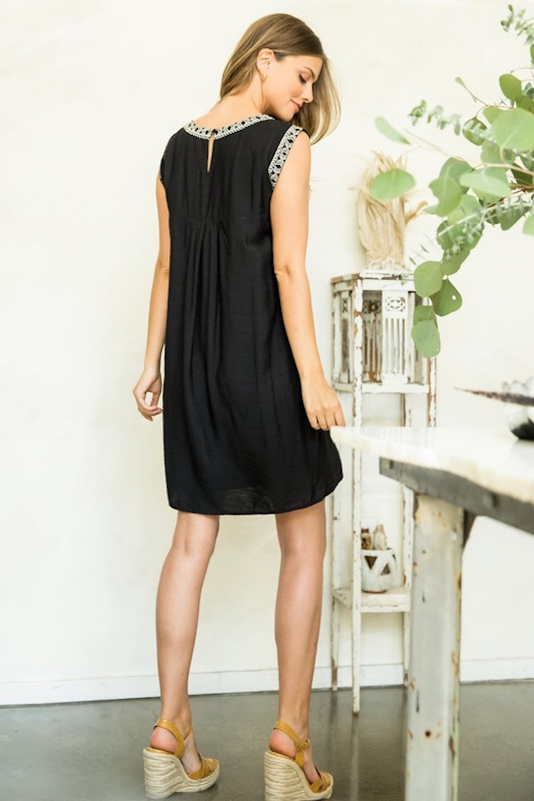 Thml Embroidered Black Dress - Back Cropped Image