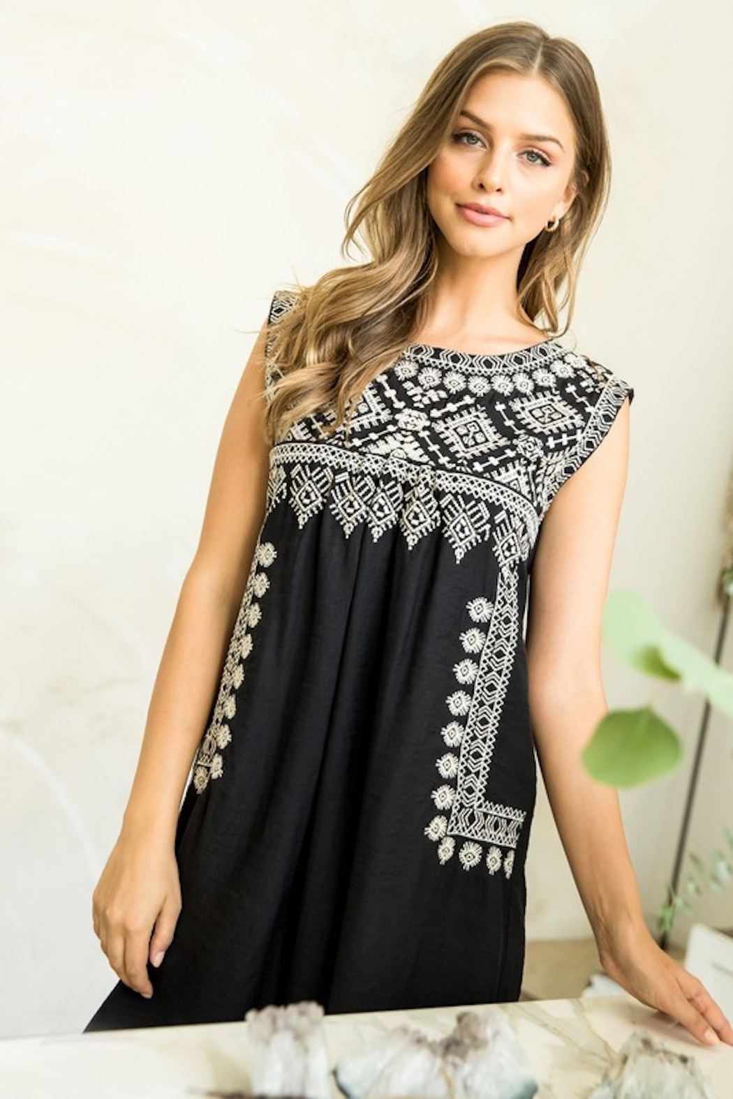 Thml Embroidered Black Dress - Main Image