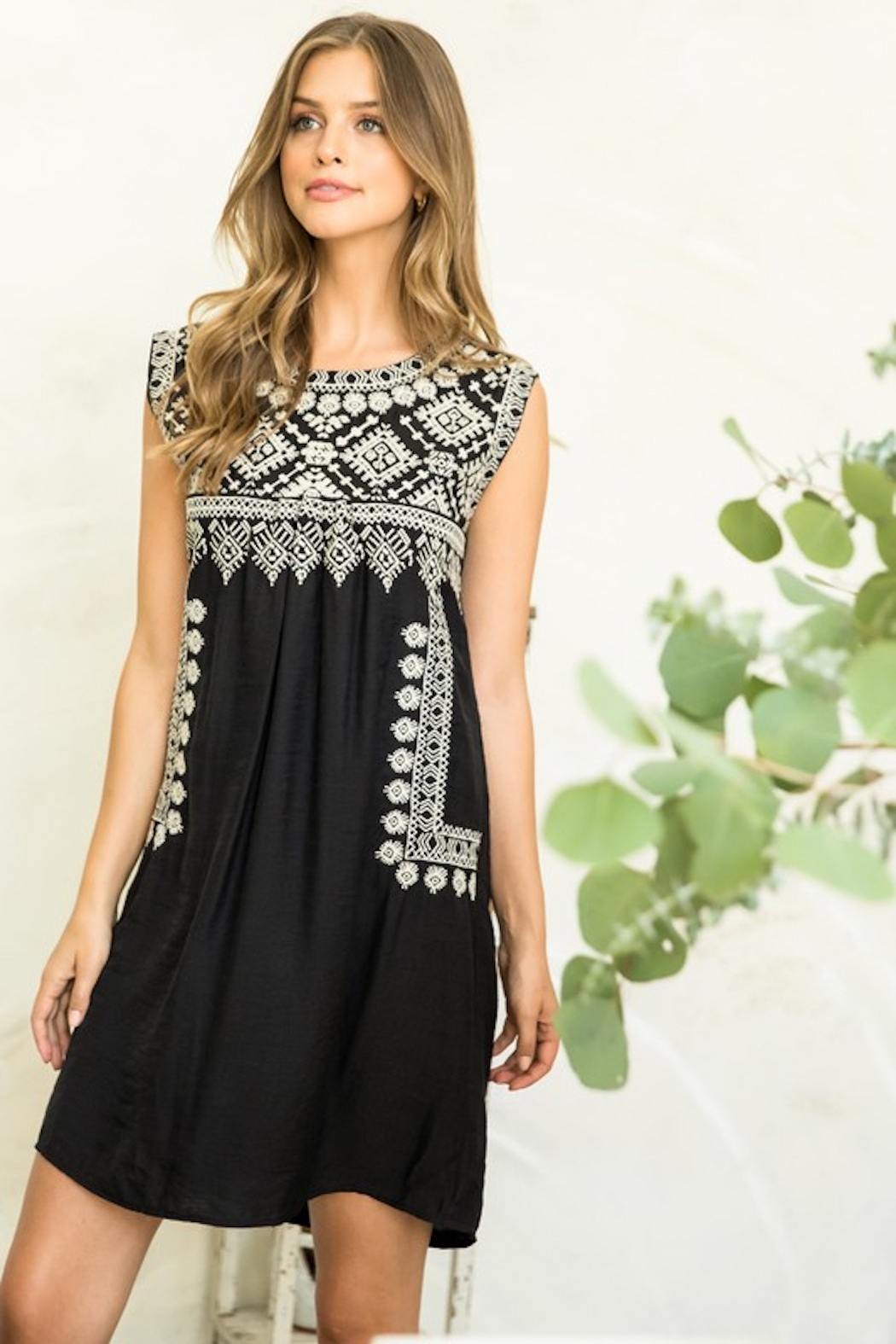 Thml Embroidered Black Dress - Side Cropped Image