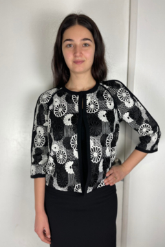 Shoptiques Product: Embroidered Black White Top
