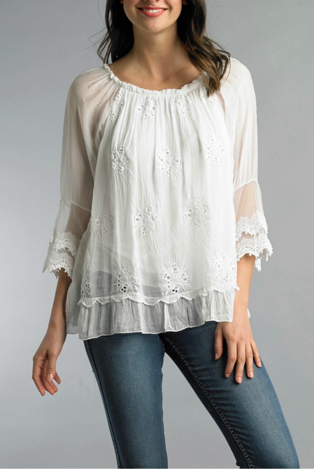 Tempo Paris Embroidered Blouse - Side Cropped Image