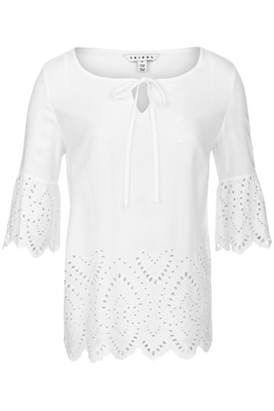Tribal embroidered blouse with tie - Main Image