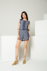 Thml Embroidered Blue Romper - Product Mini Image