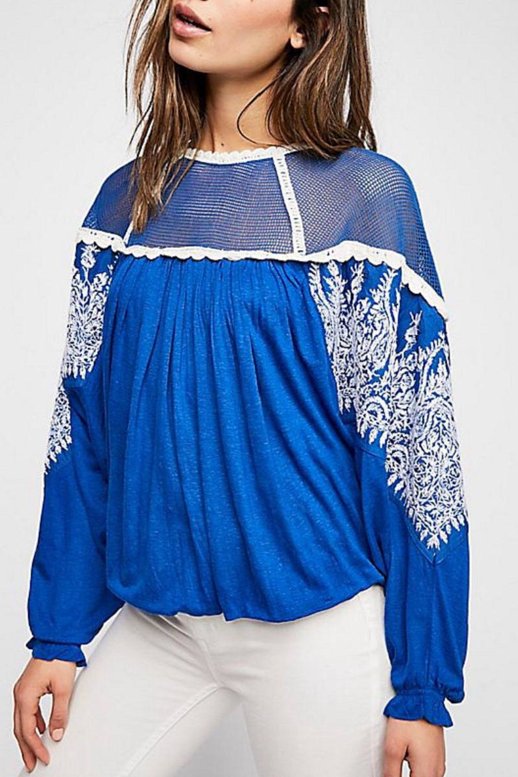 Free People Embroidered Bohemian Top - Main Image