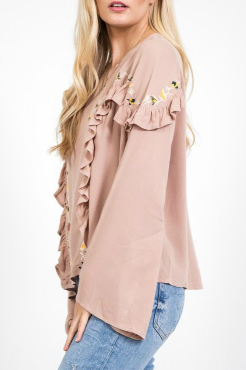 LoveRiche Embroidered Boho Bell-Sleeve - Front Full Image