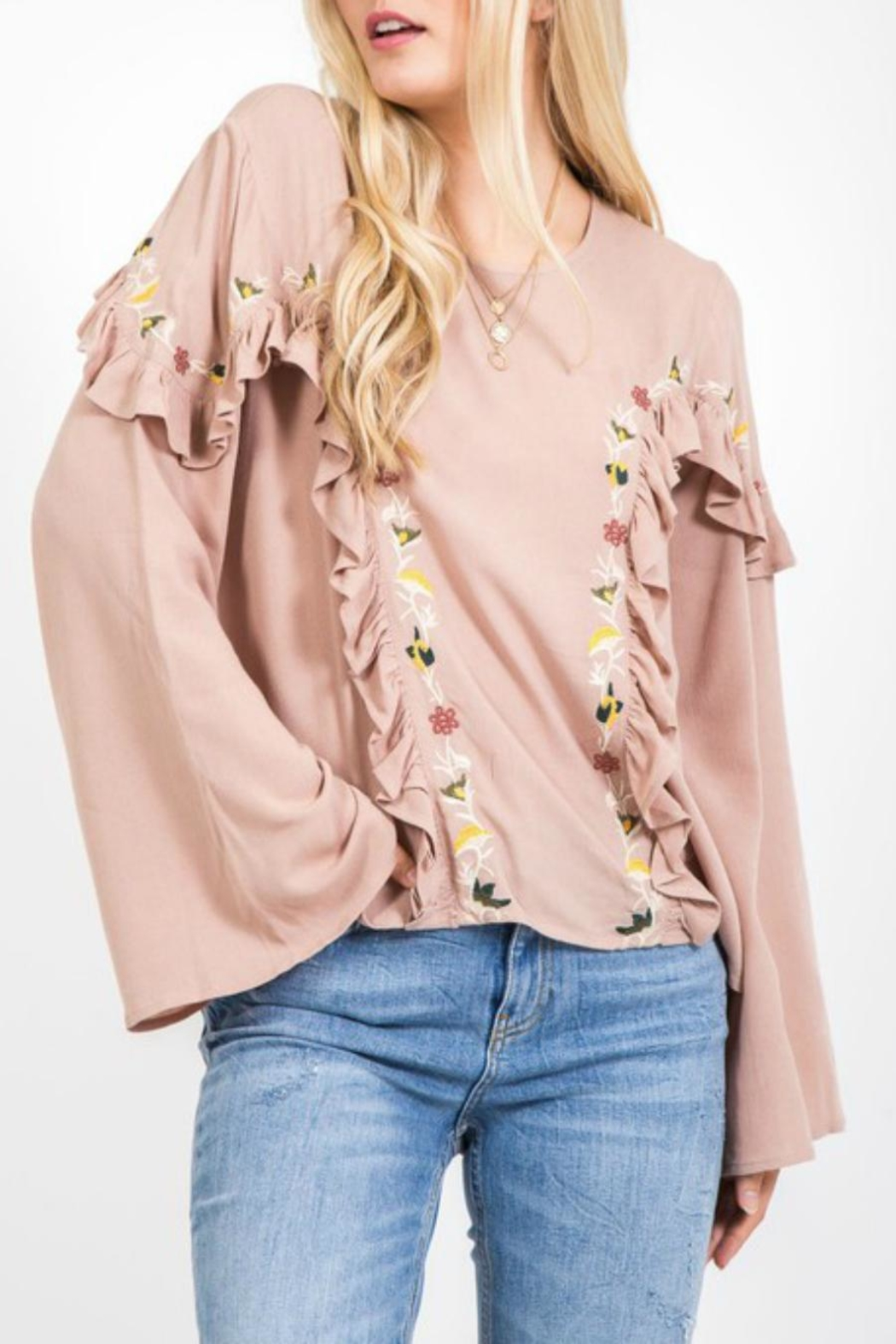 LoveRiche Embroidered Boho Bell-Sleeve - Main Image