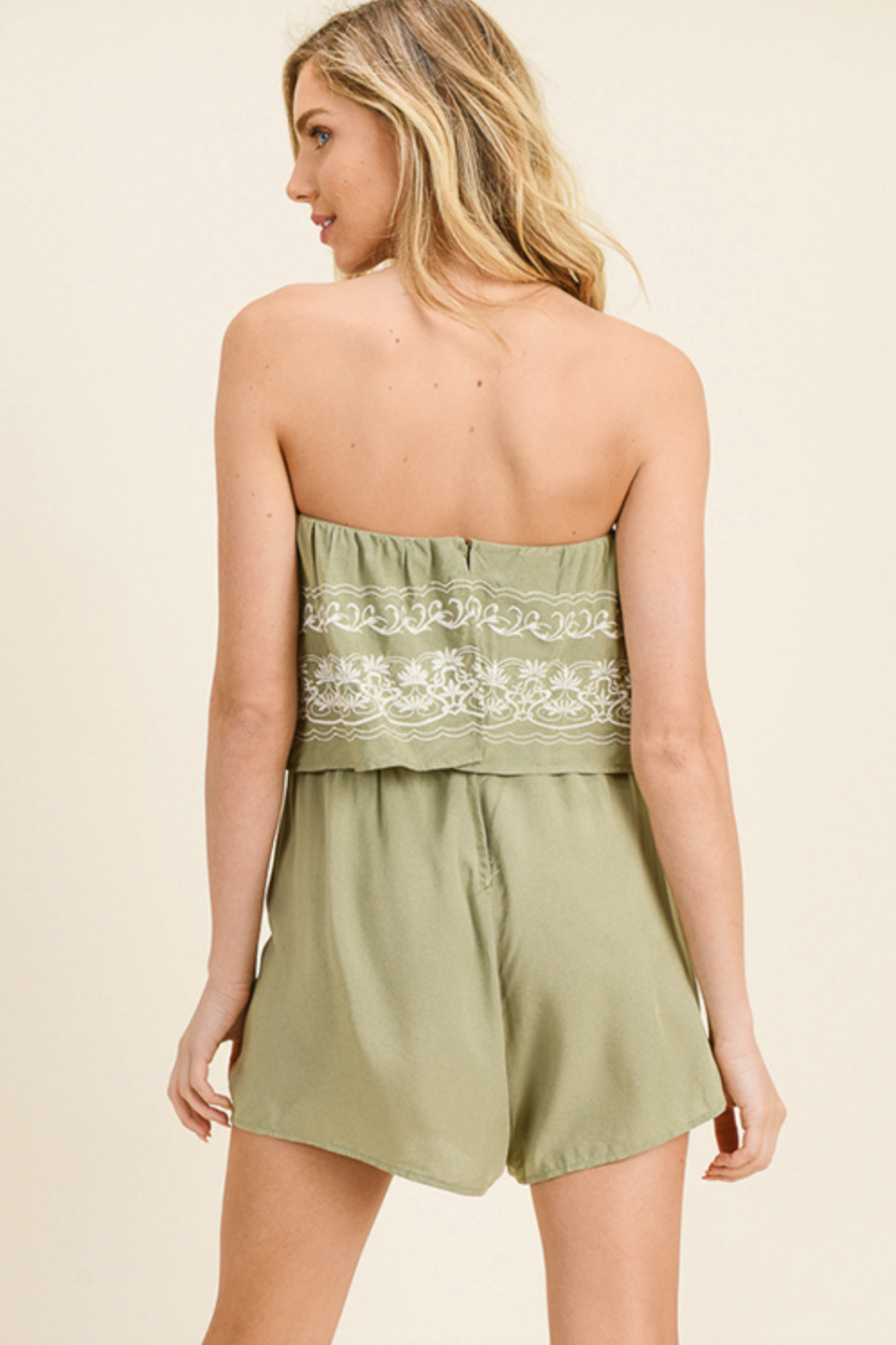 MONTREZ EMBROIDERED BOHO ROMPER - Side Cropped Image