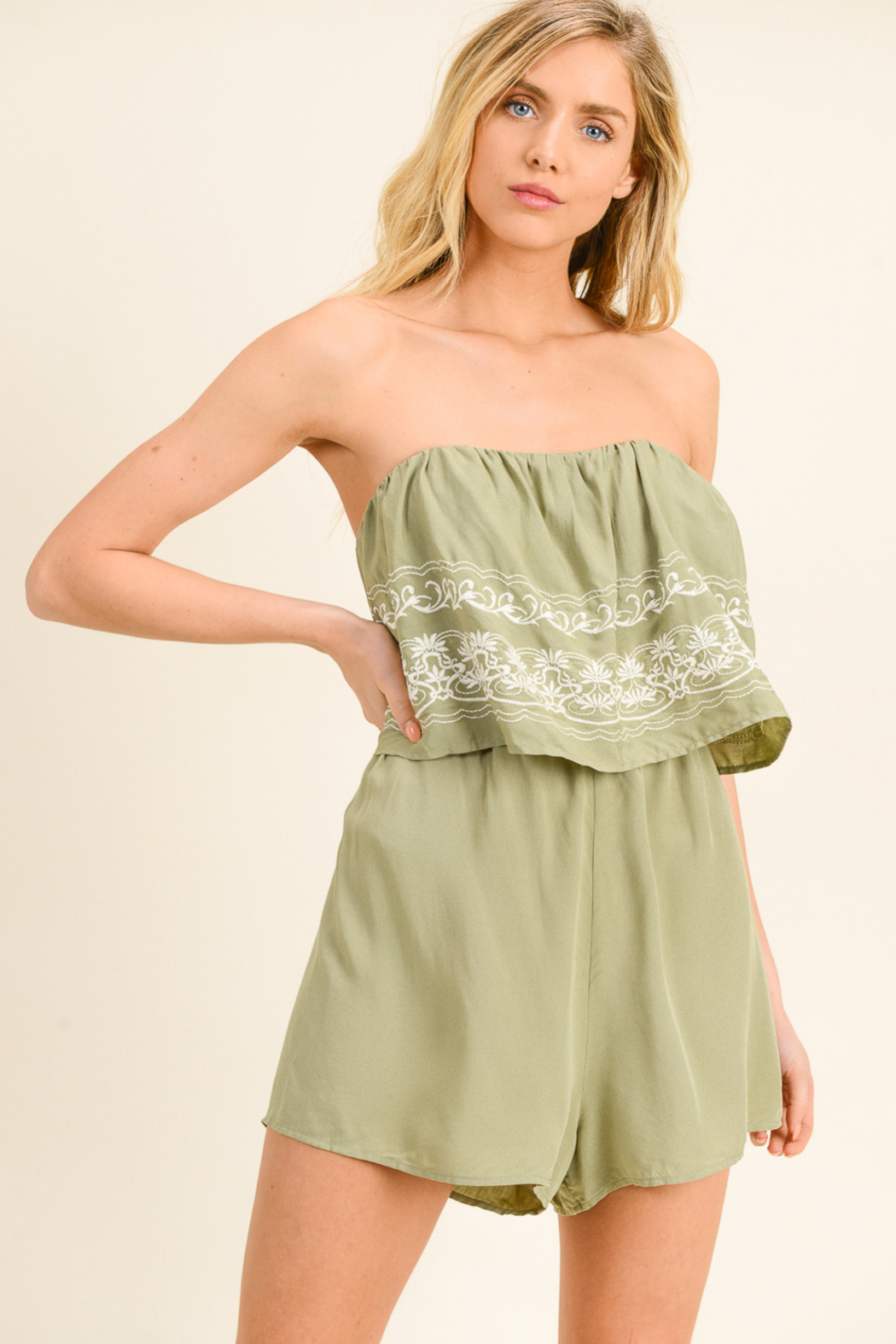 MONTREZ EMBROIDERED BOHO ROMPER - Front Cropped Image