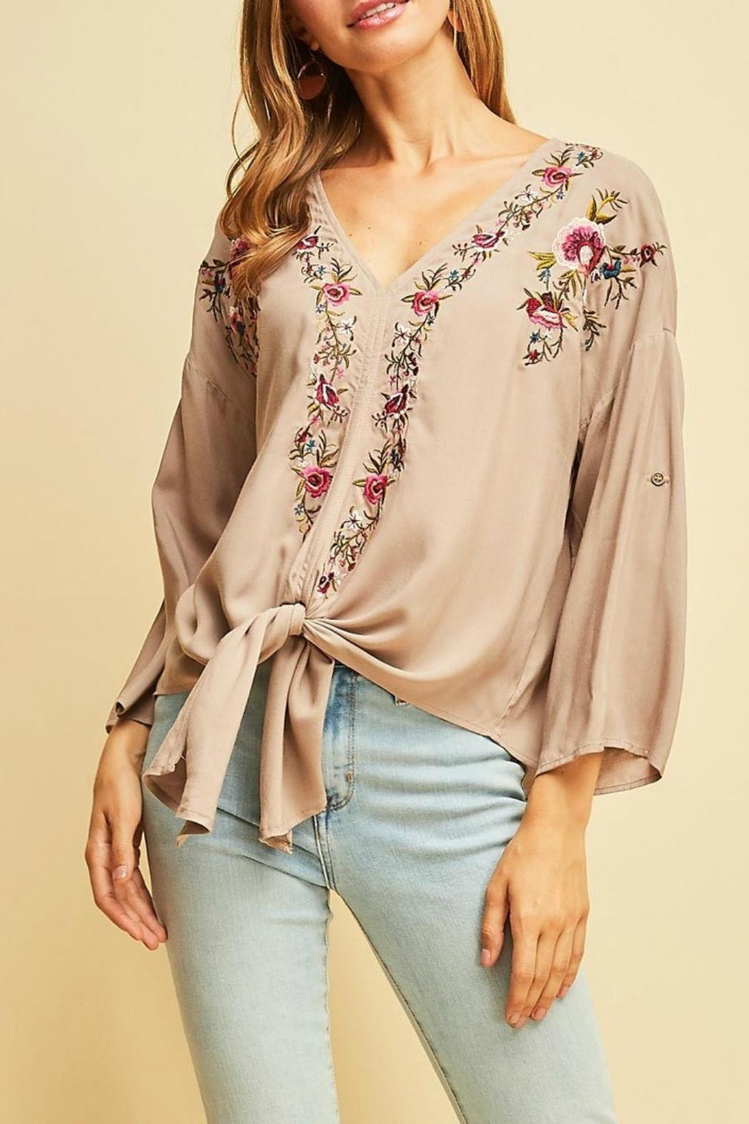 Entro Embroidered Boho Top - Main Image