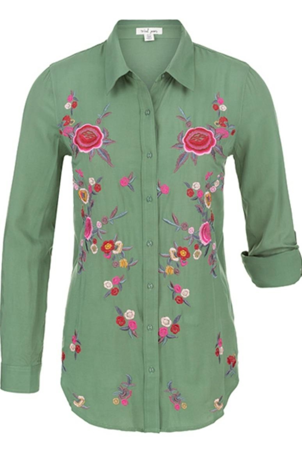 Tribal Embroidered Button Blouse - Side Cropped Image