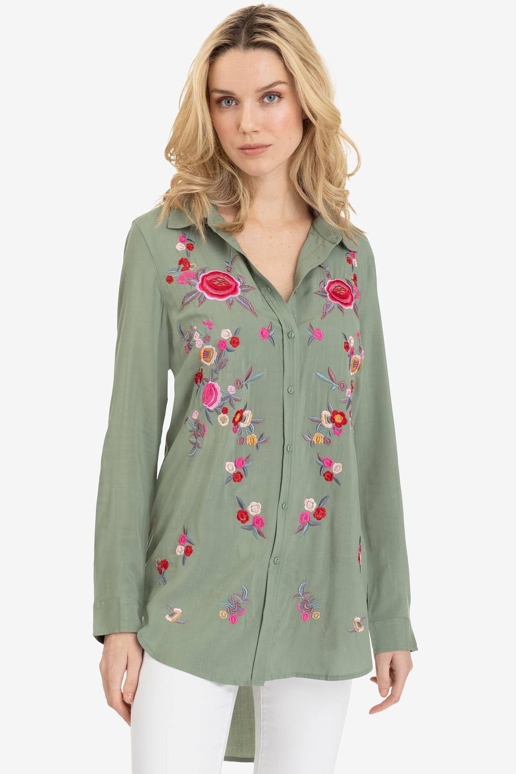 Tribal Embroidered Button Blouse - Front Cropped Image