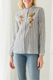 Mystree embroidered button down blouse - Product Mini Image