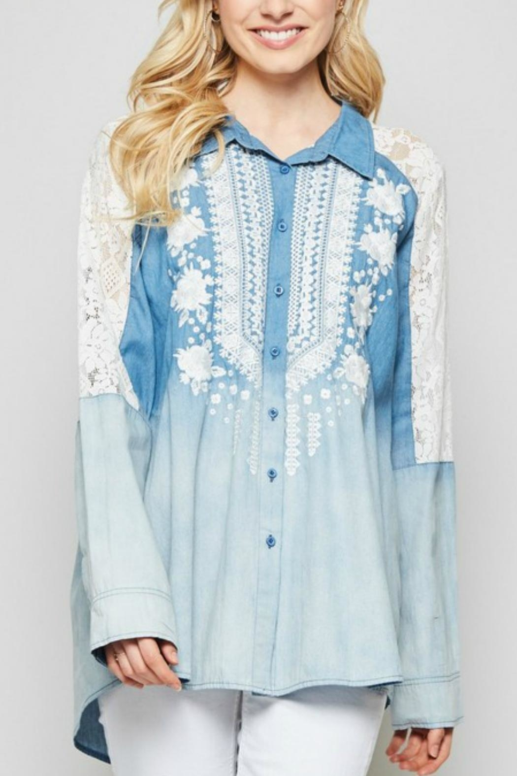 Andree by Unit Embroidered  Button-Down Denim-Shirt - Front Full Image