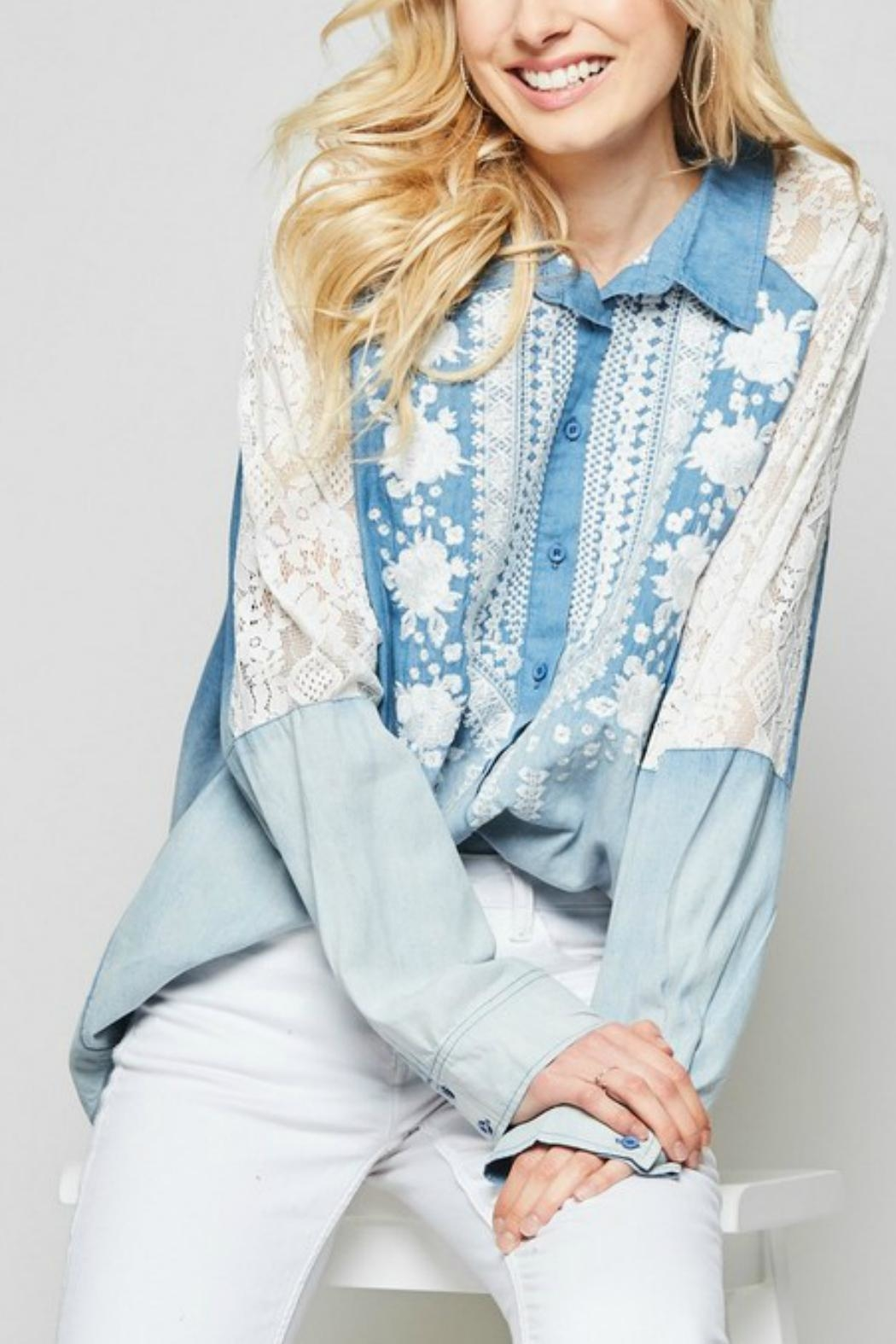 Andree by Unit Embroidered  Button-Down Denim-Shirt - Main Image