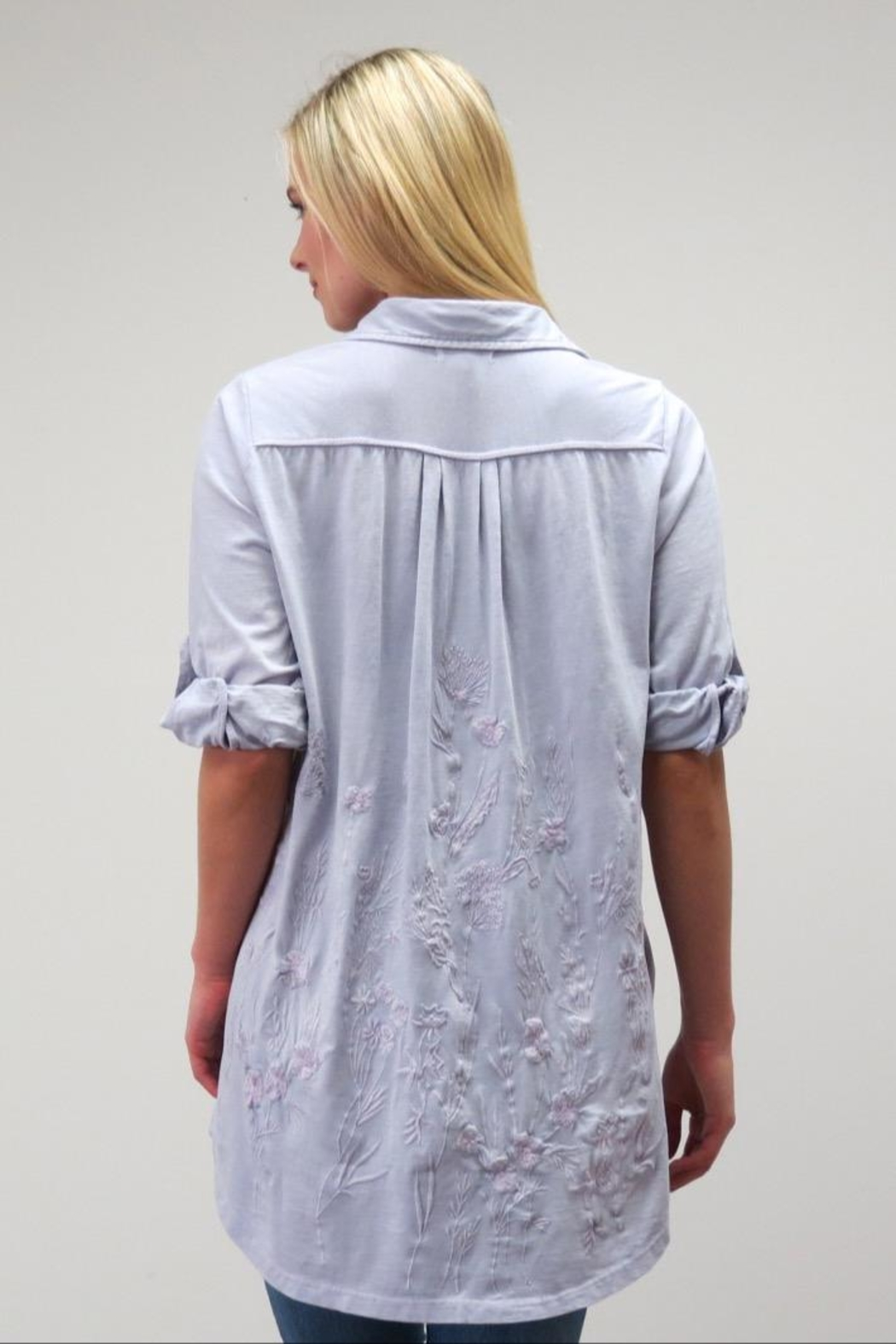 Caite Embroidered Button Up - Front Full Image