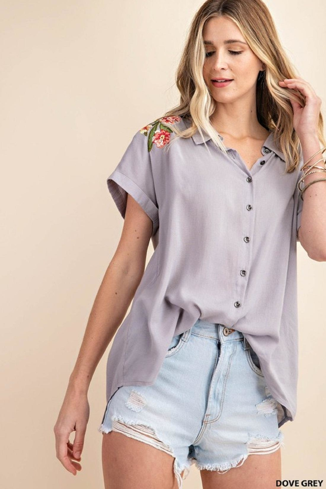 KORI AMERICA Embroidered Button-Up - Front Full Image