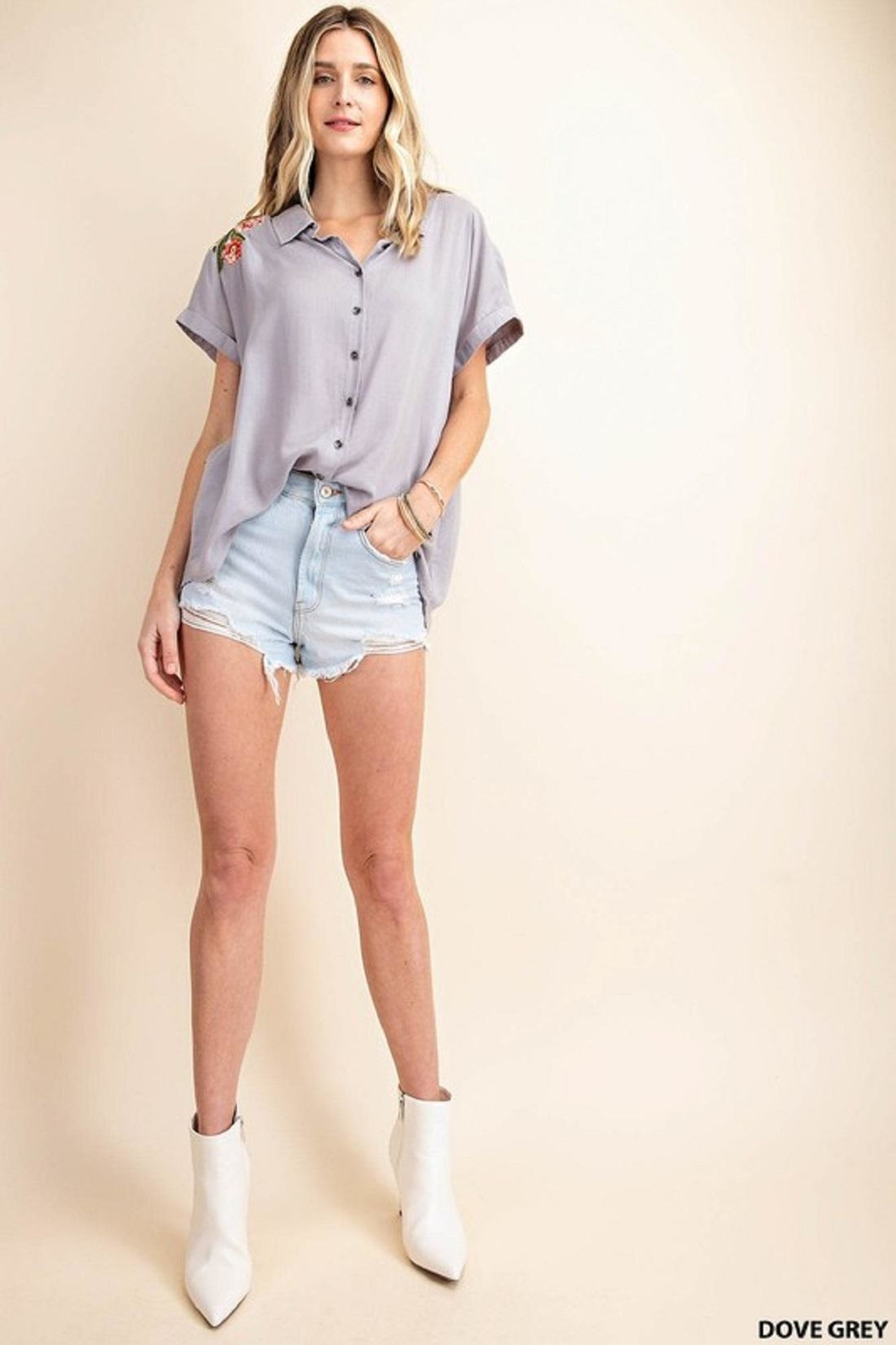 KORI AMERICA Embroidered Button-Up - Side Cropped Image