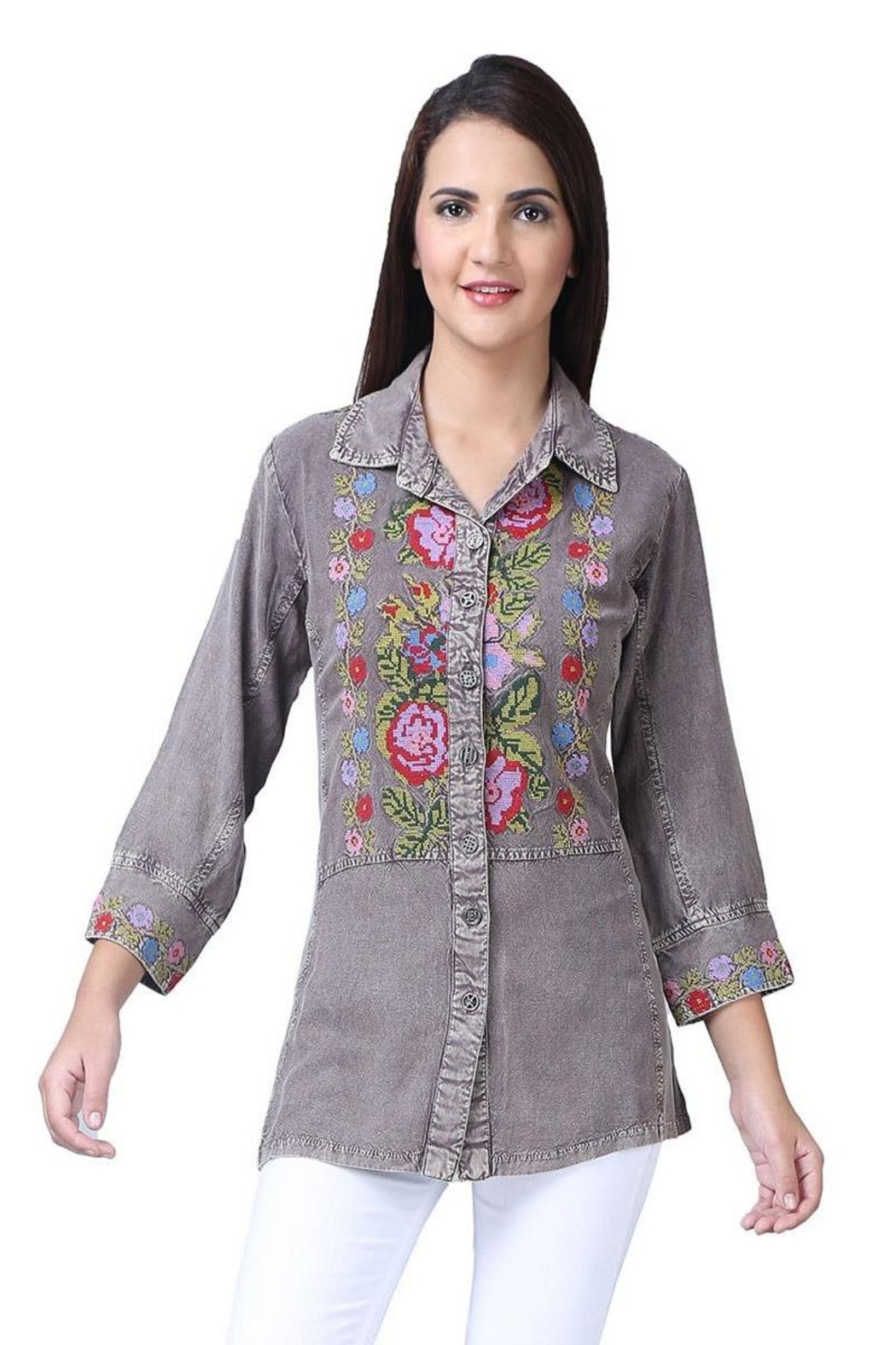 Parsley & Sage Embroidered Button-Up Shirt - Main Image