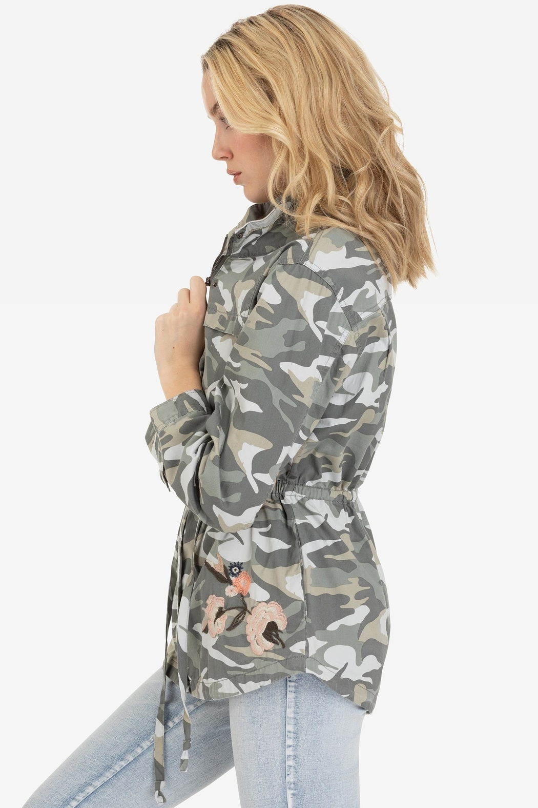 Tribal Embroidered Camo Jacket - Front Full Image
