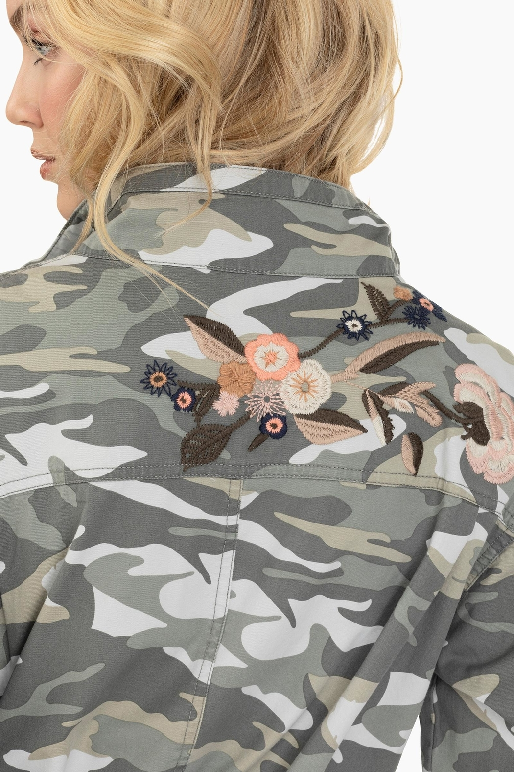 Tribal Embroidered Camo Jacket - Back Cropped Image