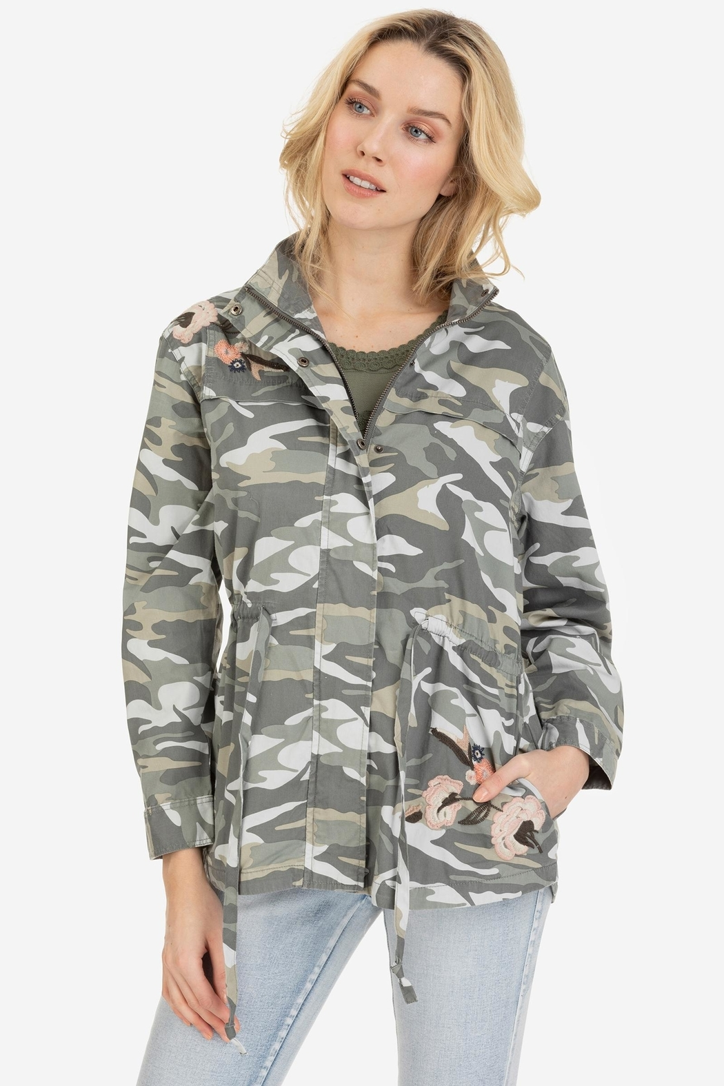 Tribal Embroidered Camo Jacket - Front Cropped Image