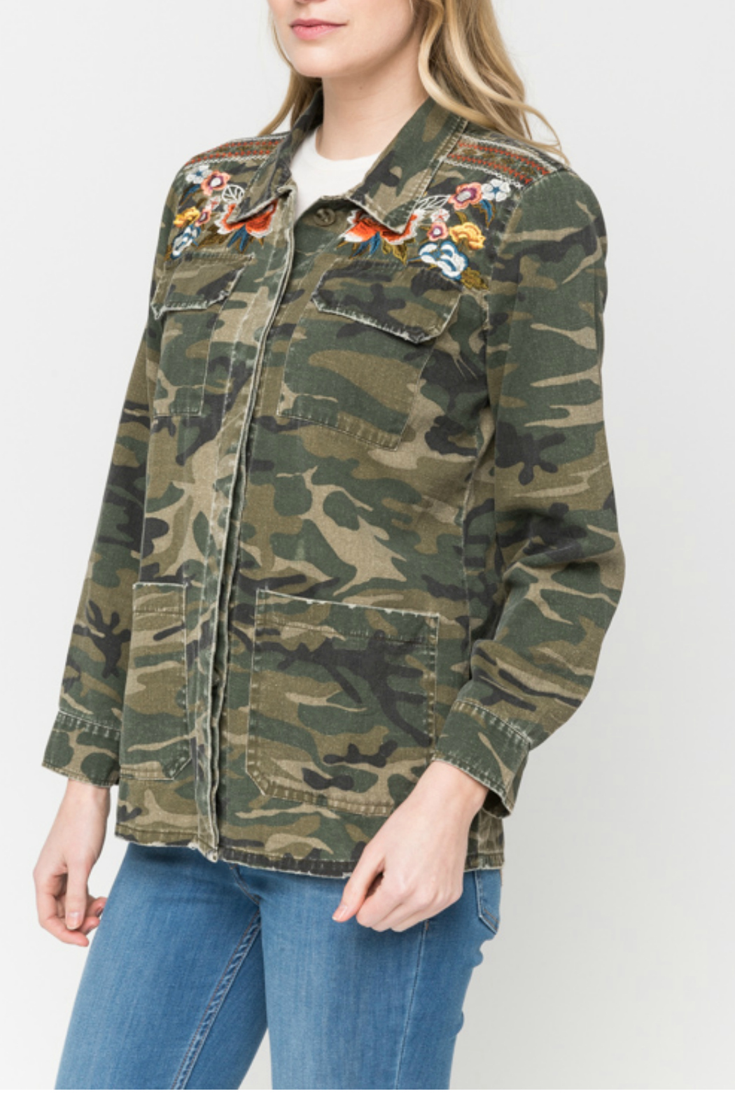 Mystree Embroidered camo shirt jacket - Front Full Image
