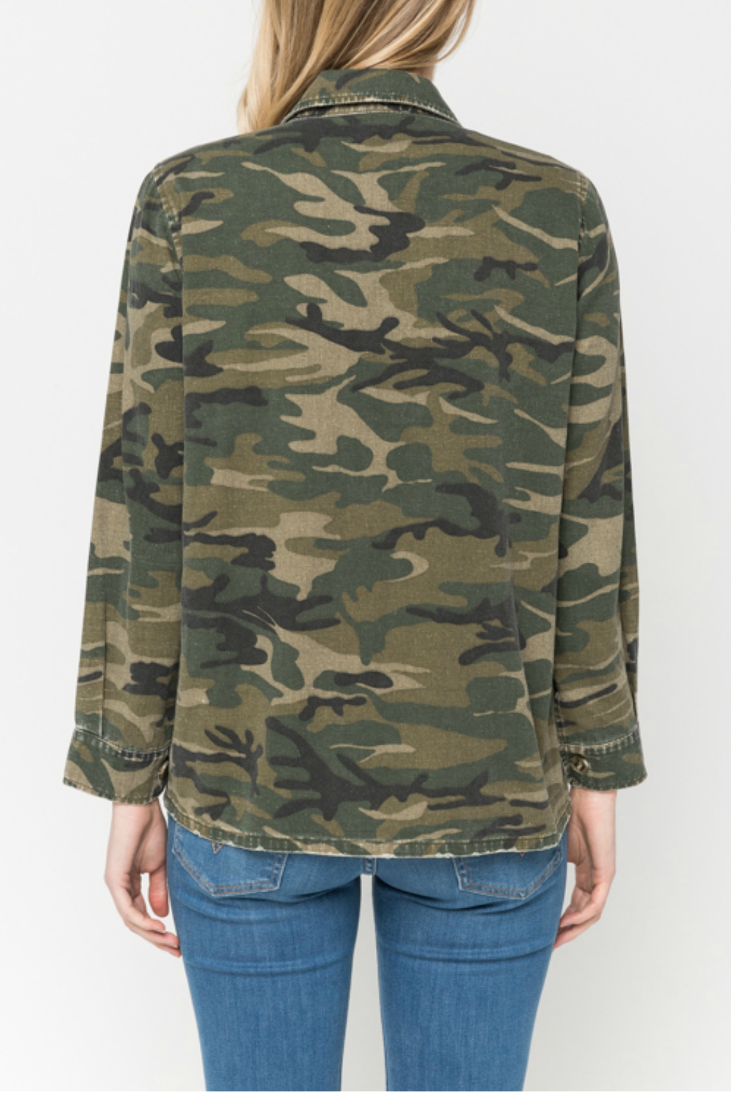 Mystree Embroidered camo shirt jacket - Side Cropped Image