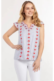 Tribal  Embroidered Cap Sleeve Blouse - Front cropped