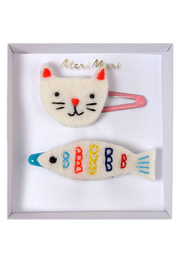 Meri Meri Embroidered Cat & Fish Hair Clips - Product Mini Image