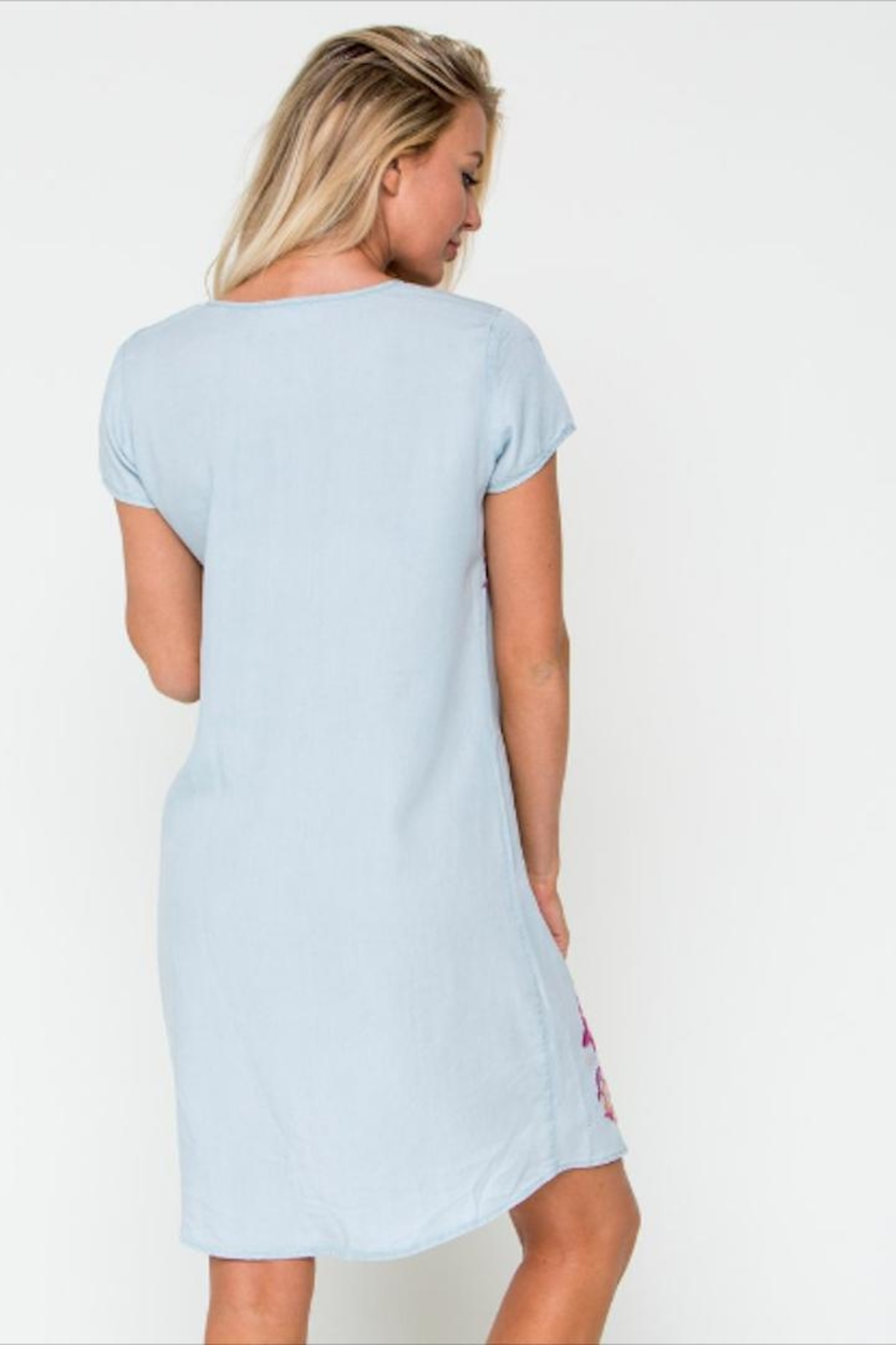 Downeast Basics Embroidered Chambray Dress - Back Cropped Image
