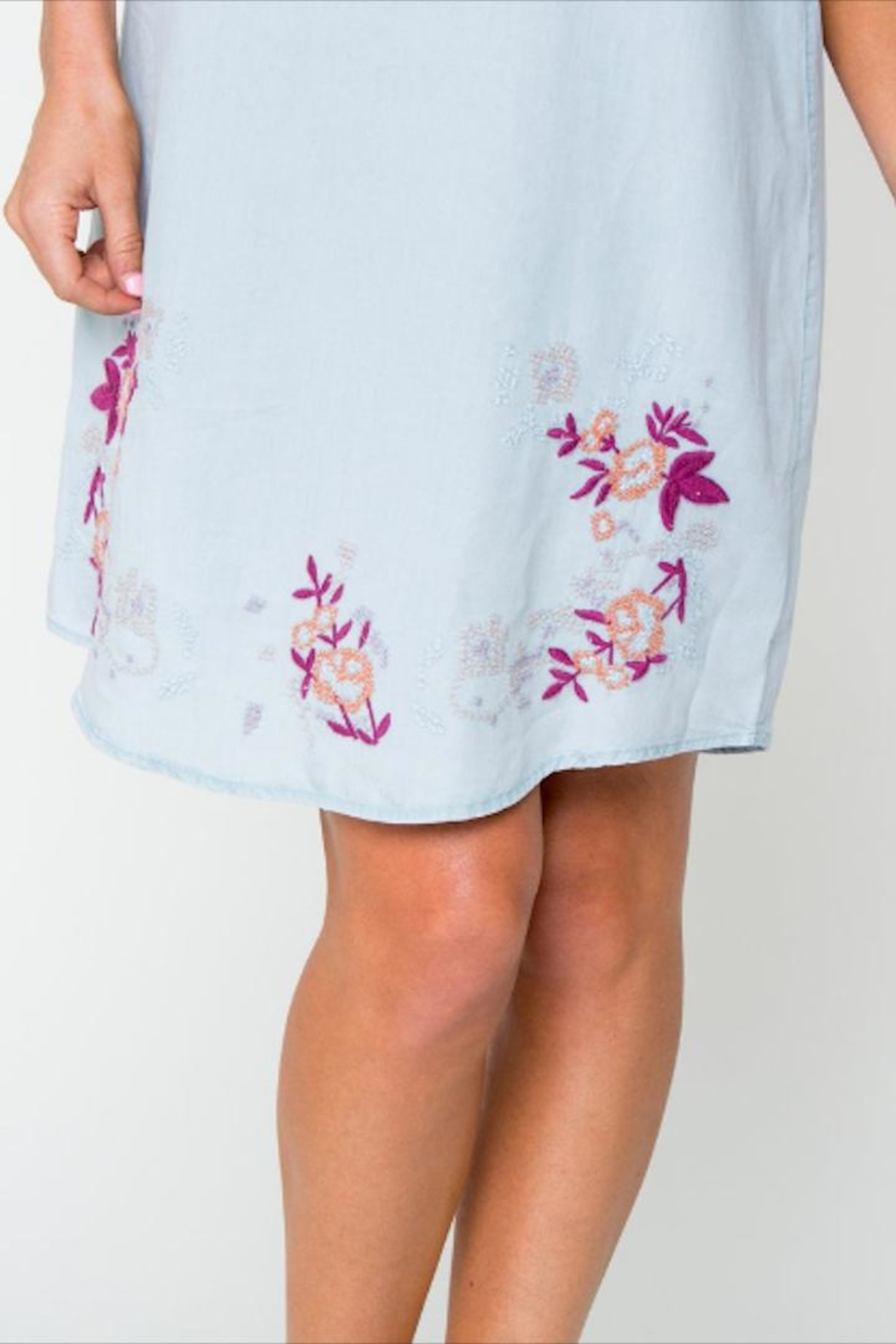 Downeast Basics Embroidered Chambray Dress - Side Cropped Image