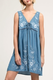 Blu Pepper Embroidered Chambray Dress - Product Mini Image