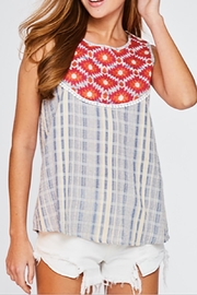 LLove USA Embroidered Checkered Top - Product Mini Image