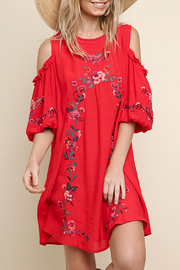 Umgee USA Embroidered Cold-Shoulder Dress - Product Mini Image