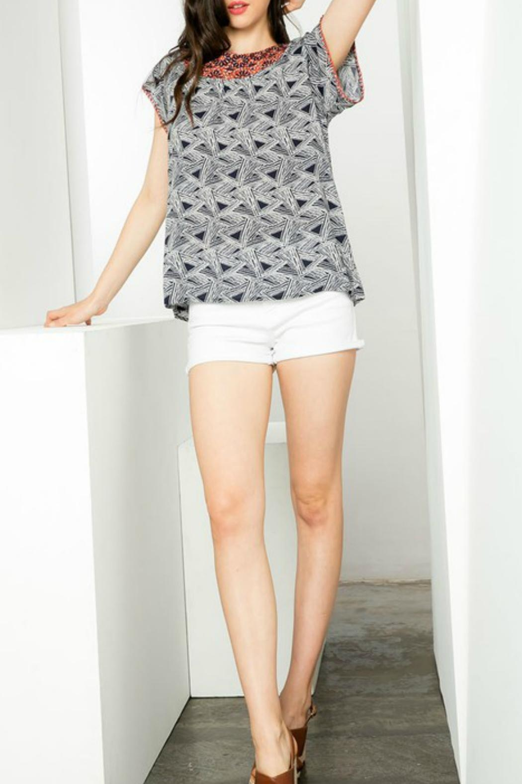 THML Clothing Embroidered Collar Top - Main Image