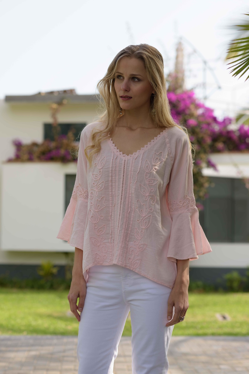 Gretty Zuegar Embroidered Cotton Top - Main Image