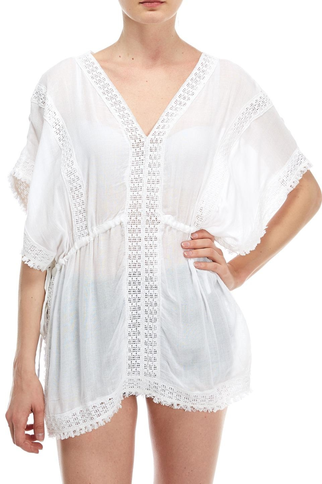 En Creme Embroidered Coverup Top - Front Full Image