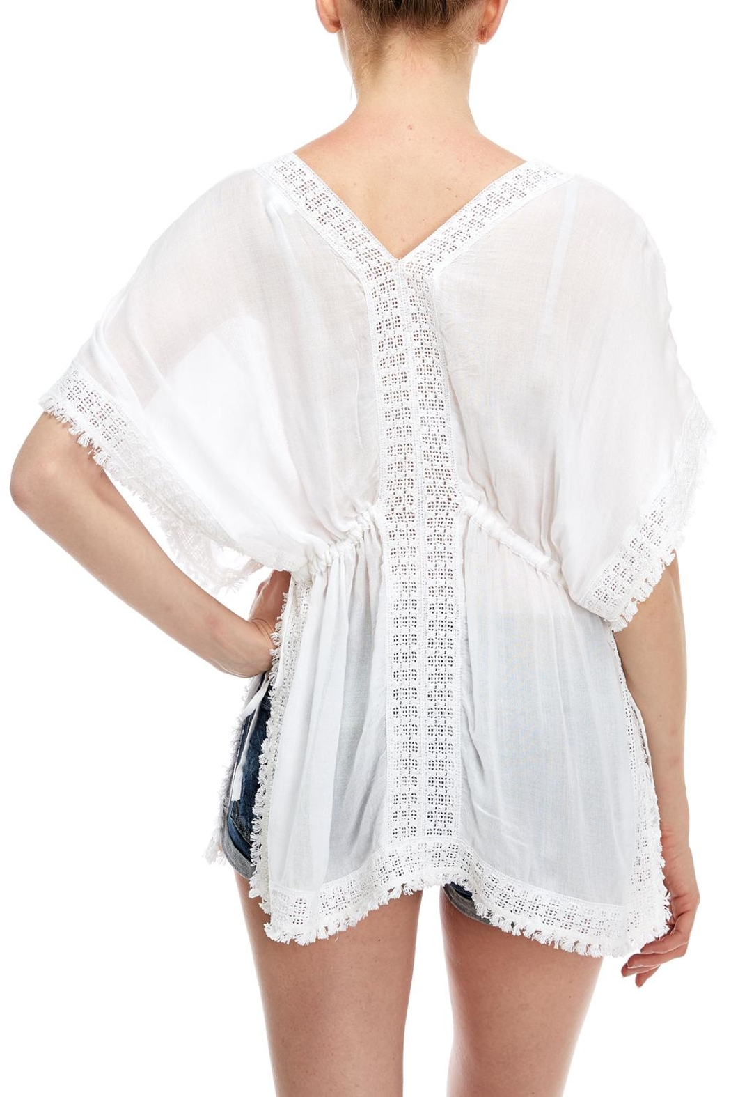 En Creme Embroidered Coverup Top - Back Cropped Image