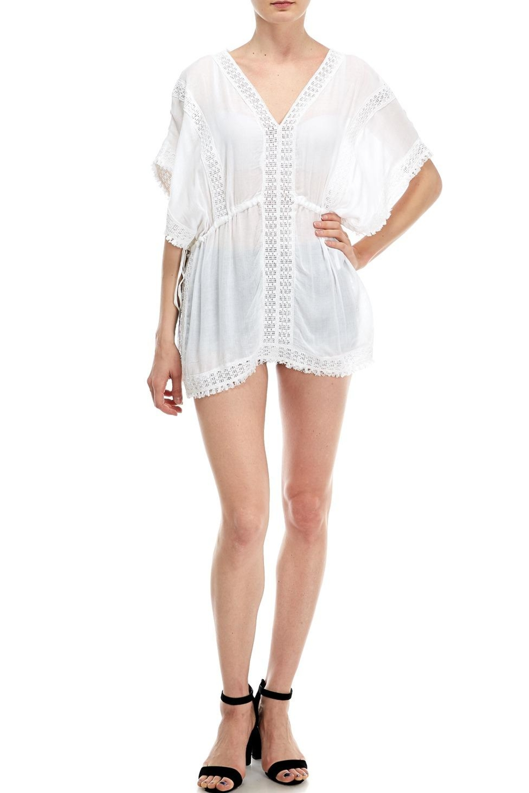 En Creme Embroidered Coverup Top - Main Image