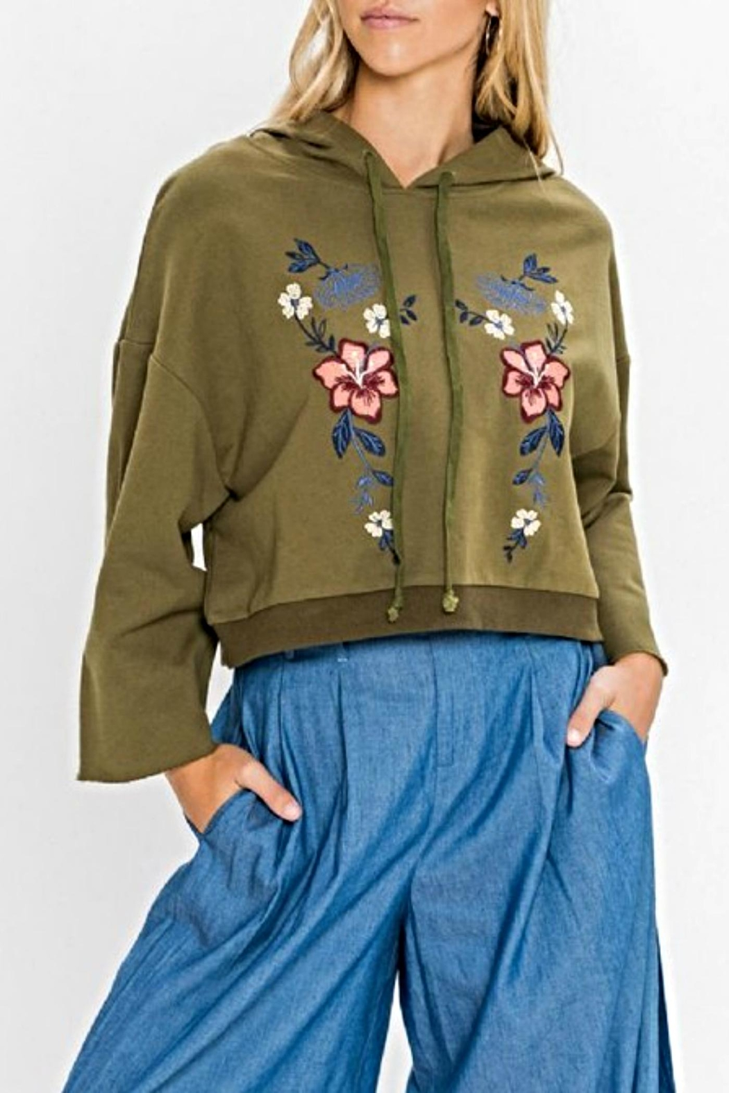 Flying Tomato Embroidered Crop Hoodie - Main Image