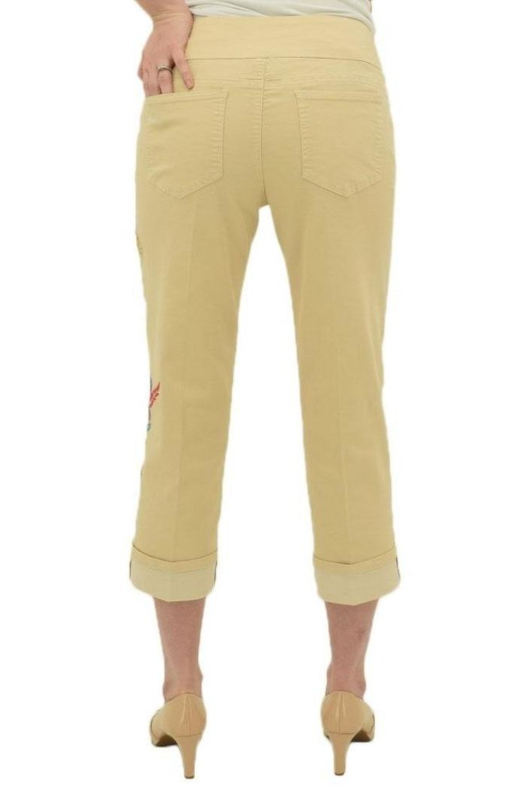 Multiples Embroidered Crop Pants - Front Full Image