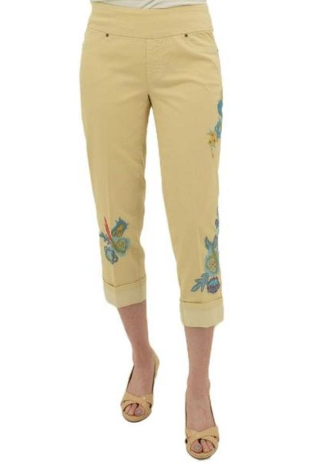 Multiples Embroidered Crop Pants - Front Cropped Image