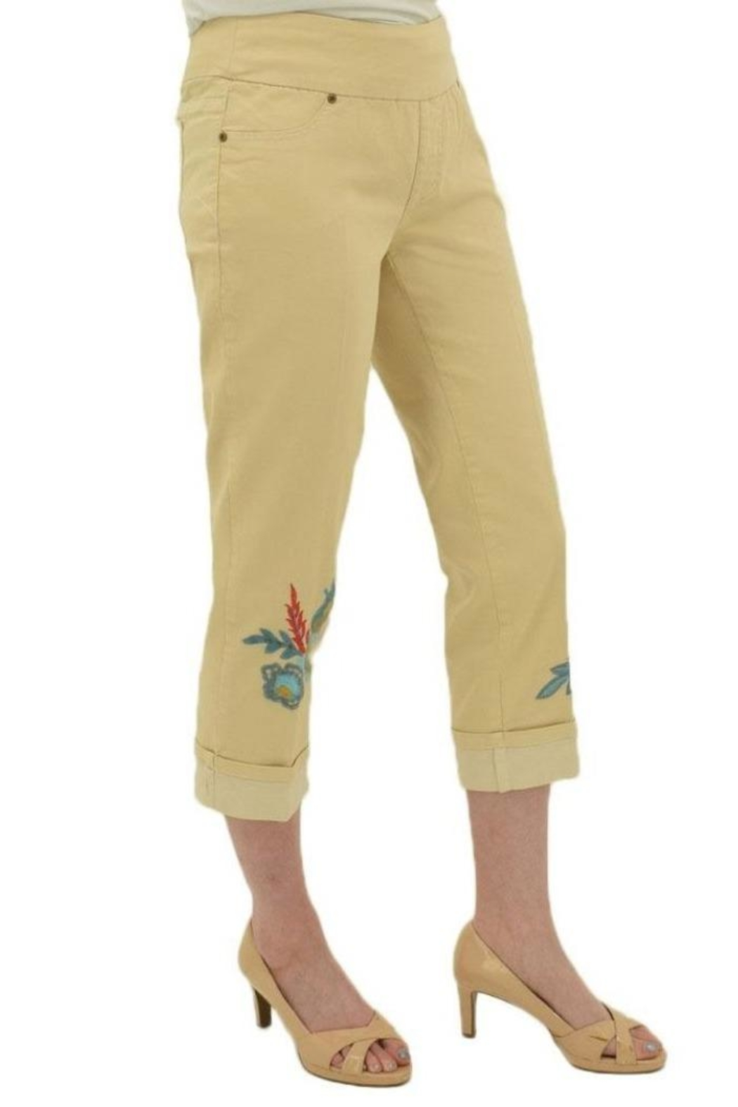 Multiples Embroidered Crop Pants - Side Cropped Image