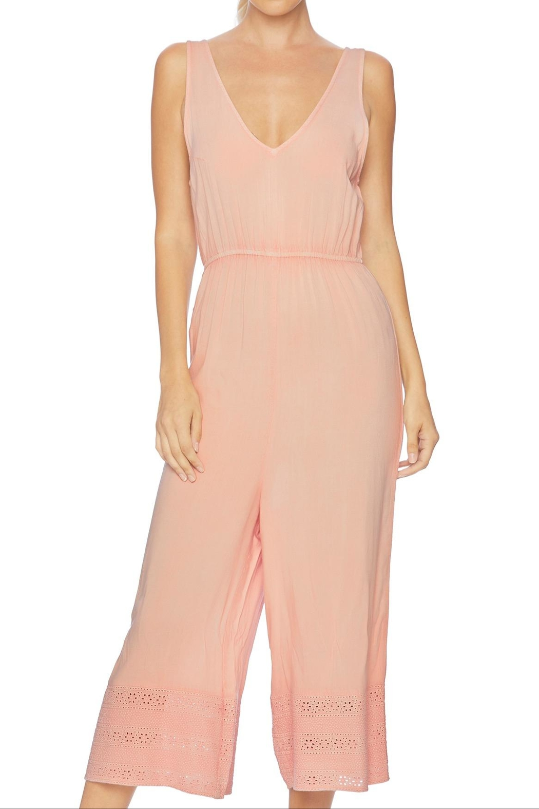 Splendid Embroidered Cropped Jumpsuit - Side Cropped Image