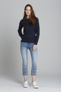 Driftwood Embroidered Cropped Straight Leg Denim - Product List Image