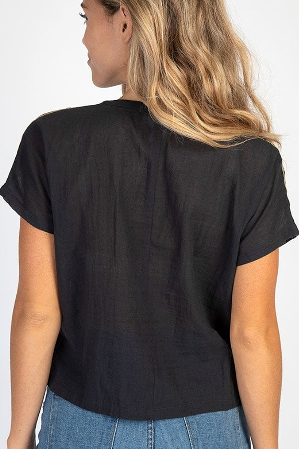 Natural Life Embroidered Cropped Top - Front Full Image