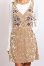 hummingbird Embroidered Crushed Velvet Overall Dress - Product Mini Image